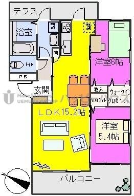 グランドール / B-201号室間取り