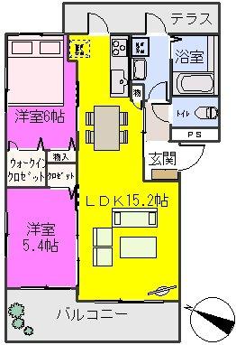 グランドール / B-202号室間取り