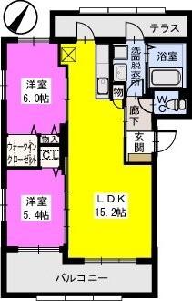 エレガンテ京ノ尾 / B-302号室間取り