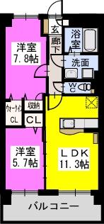 プレジデント正弥朱雀(ペット可) / 205号室間取り