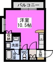 パルメゾン二日市弐番館 / 105号室間取り