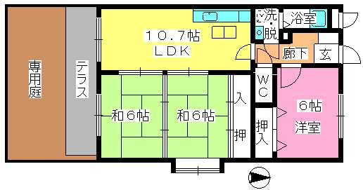 エステート杉塚 / 101号室間取り