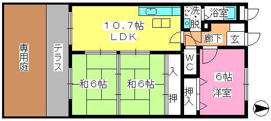 エステート杉塚 / 103号室間取り