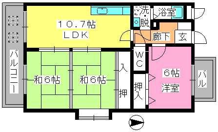 エステート杉塚 / 201号室間取り