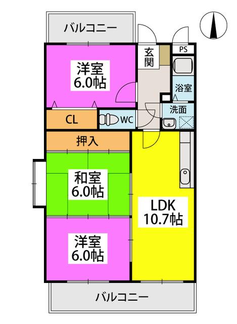 エステート杉塚 / 205号室間取り
