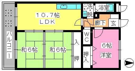 エステート杉塚 / 303号室間取り