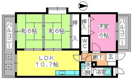 エステート杉塚 / 305号室間取り