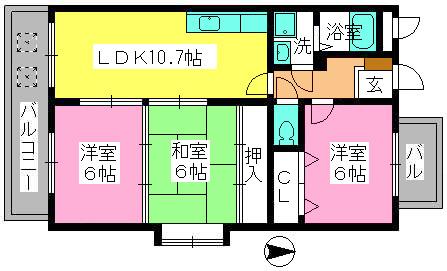 エステート杉塚 / 401号室間取り
