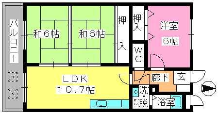 エステート杉塚 / 402号室間取り