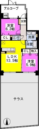 ブランコート筑紫野 / 102号室間取り
