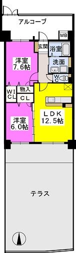 ブランコート筑紫野 / 103号室間取り