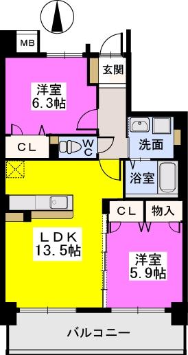 ブランコート筑紫野 / 502号室間取り
