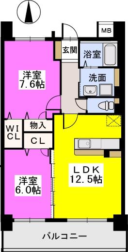ブランコート筑紫野 / 703号室間取り