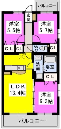 ソシア宮の杜(ペット可) / 201号室間取り