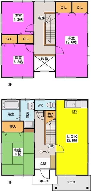筑紫田中貸家 / 2号室間取り