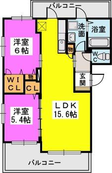 エステート杉塚Ⅱ(ペット可) / 202号室間取り