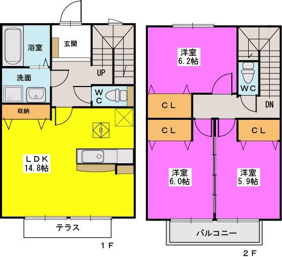 ロータス / C-3号室間取り
