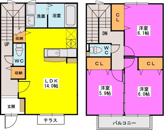 ロータス / D-2号室間取り