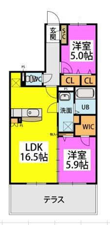 仮)カーサ水城 / 102号室間取り
