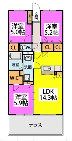 仮)カーサ水城 / 103号室間取り