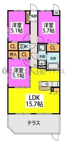 仮)カーサ水城 / 105号室間取り