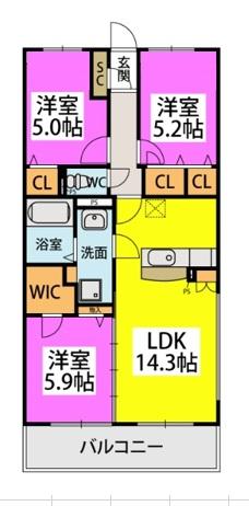 仮)カーサ水城 / 303号室間取り