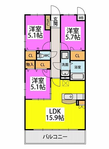 仮)プレアev湯町3丁目マンション / 305号室間取り
