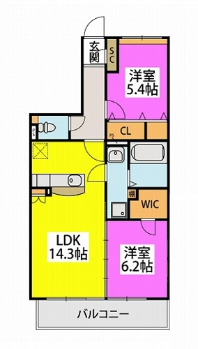 仮)プレアev湯町3丁目マンション / 502号室間取り