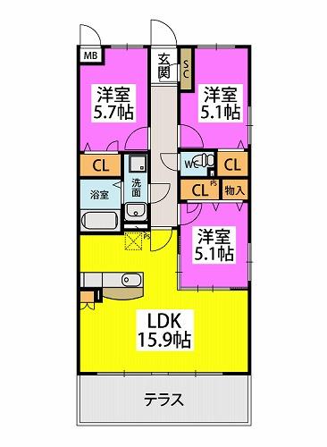 仮)プレアev湯町3丁目マンション / 106号室間取り