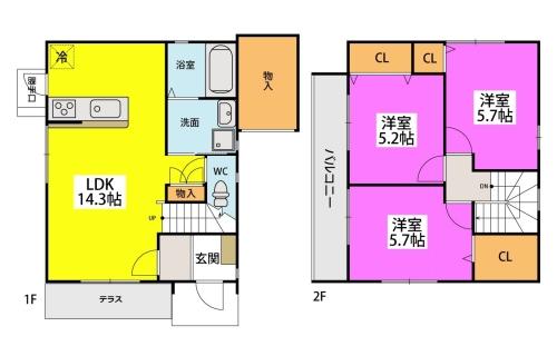 仮)タウンハウス石崎 / 112号室間取り