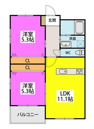 ※アドバンスM-2 / 405号室間取り