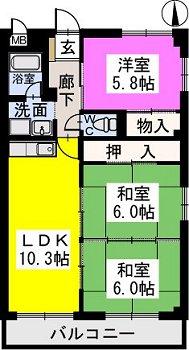 黒岩コーポ / 201号室間取り