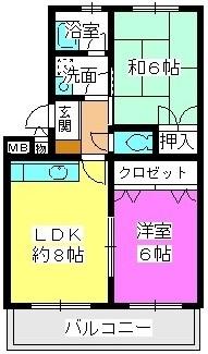 ロングライフ中田 / 402号室間取り