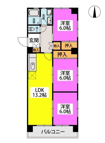 ロイヤルM42 / 407号室間取り