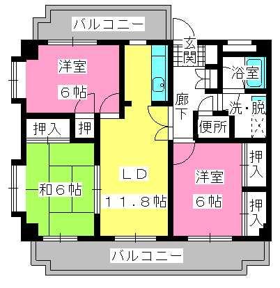 エクセレント下山門Ⅲ / 405号室間取り