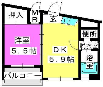 エスポワール姪浜 / 402号室間取り