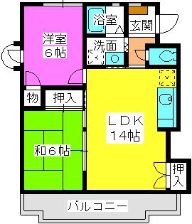 毛利ハイツ / 1-201号室間取り