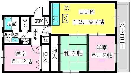 スプリングコートⅠ・Ⅱ / 1-102号室間取り