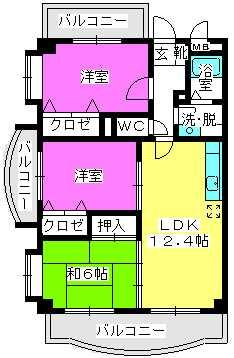 プラトゥ小田部 / 201号室間取り