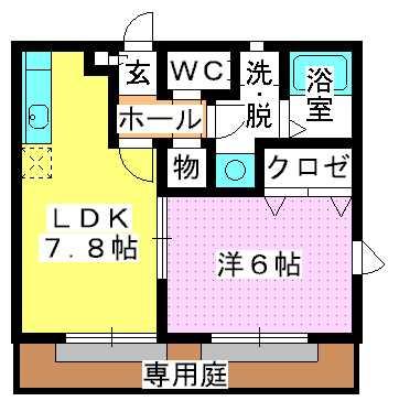 グランマキ室見Ⅱ / 101号室間取り