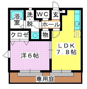グランマキ室見Ⅱ / 102号室間取り