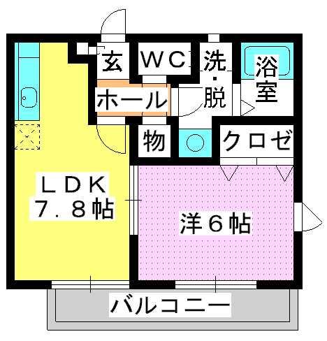 グランマキ室見Ⅱ / 201号室間取り