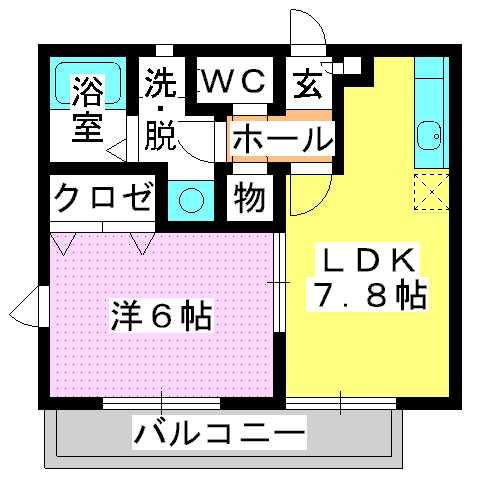 グランマキ室見Ⅱ / 202号室間取り