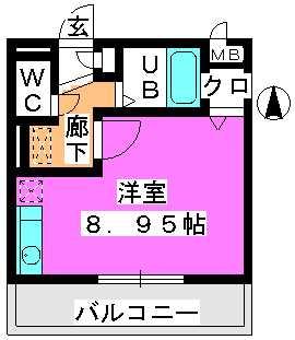 エクセレント姪浜 / 103号室間取り