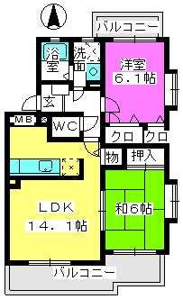ヴィラウィングⅡ / 201号室間取り