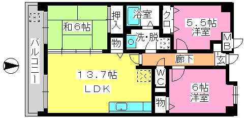 ローズマンションⅡ / 302号室間取り