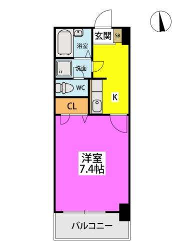 フォーライフ小戸 / 407号室間取り