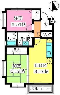 グランマキ室見Ⅲ / 102号室間取り