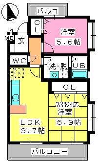 グランマキ室見Ⅲ / 201号室間取り