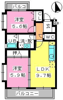 グランマキ室見Ⅲ / 402号室間取り